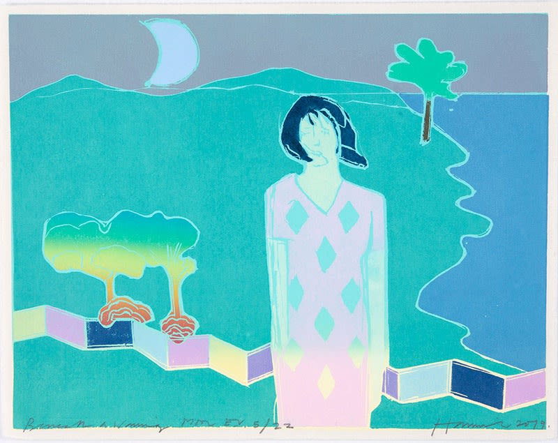 Tom Hammick Beneath a Waning Moon Edition variable reduction woodcut 31 x 39 cm edition of 22 Framed