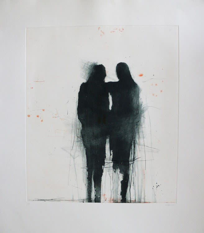 Henry Jabbour Standing Figures lift ground etching and aquatint from two copper plates with dry point and spit bite 79 x 69 cm (paper size) edition of 15 Framed (available unframed, £625.00)