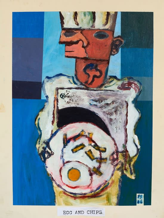 Paul Sonabend Egg and Chips acrylic on paper 66 x 46 cm
