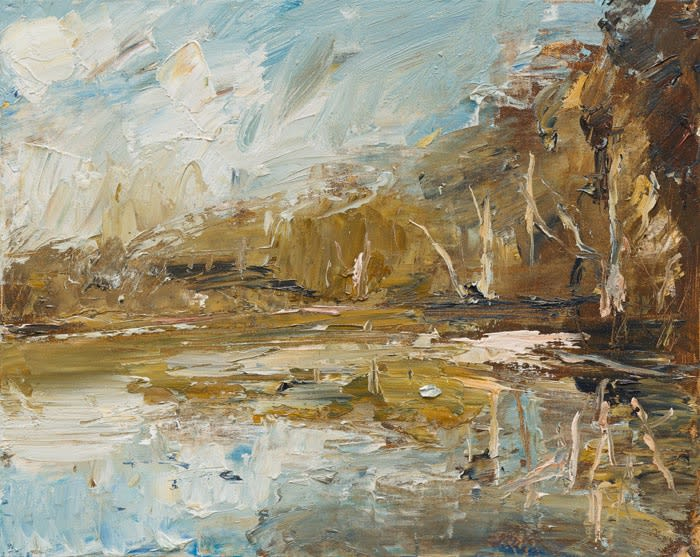 Creek Reflected Tree Banks oil on canvas 41 x 51 cm