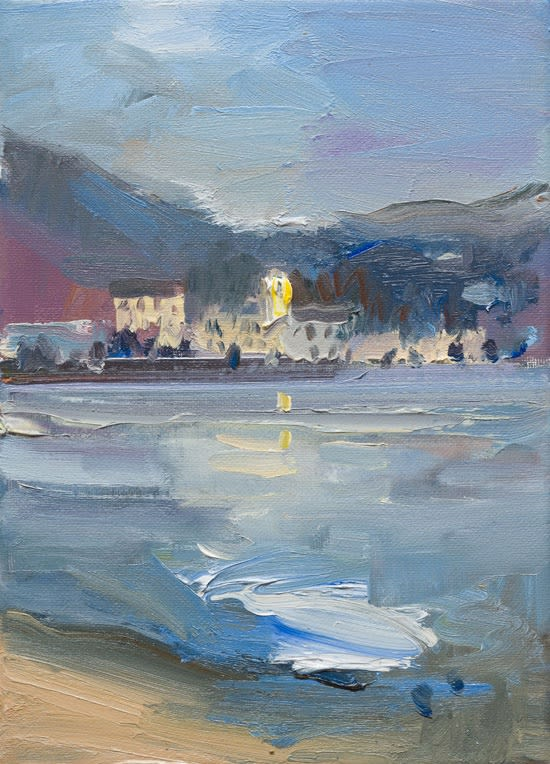 The Island of San Giulio in the Evening from the Shore of Lake Orta oil on canvas 30 x 21 cm