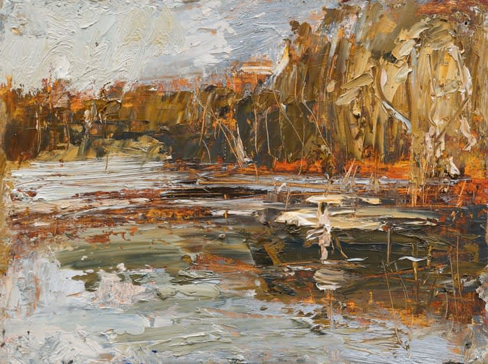 Creek Reflections (Wader) oil on board 22.5 x 30 cm