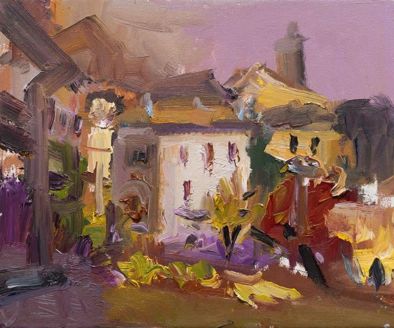 Scenes from an Italian Garden, Early Morning oil on canvas 25 x 30 cm