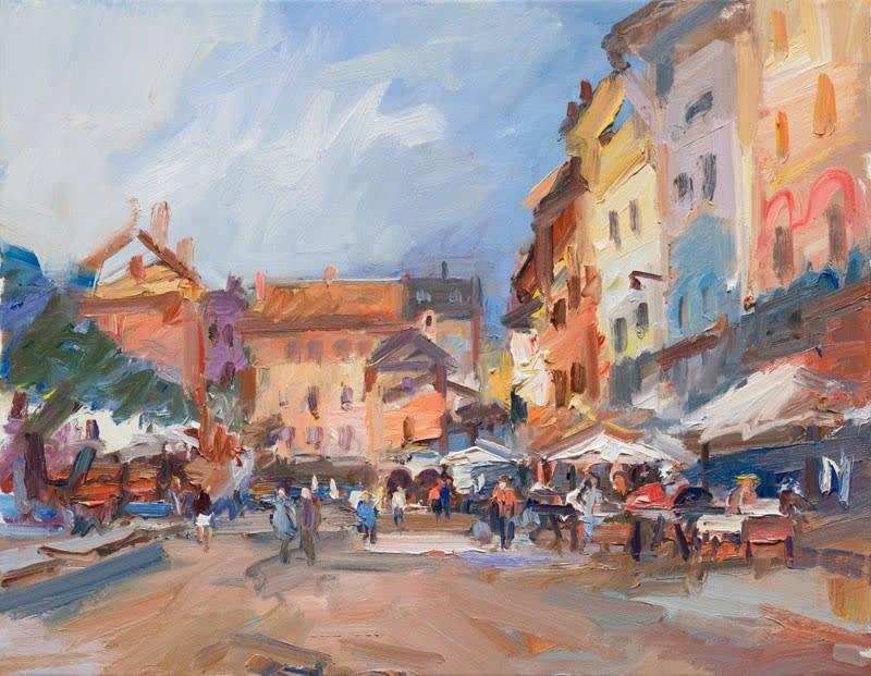 The Piazza, Orta San Giulio oil on canvas 71 x 92 cm