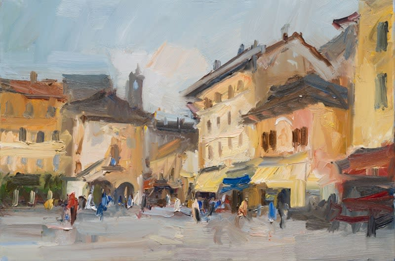 Cloudy Day in the Piazza, Orta San Giulio oil on canvas 51 x 76 cm