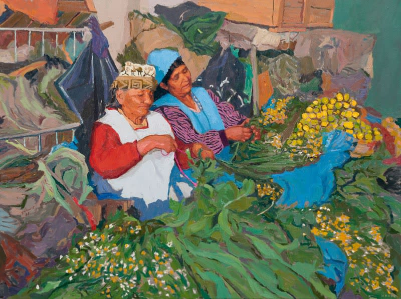 Lemons, flowers, friendship (harmony in the workplace) oil on canvas 90 x 121 cm