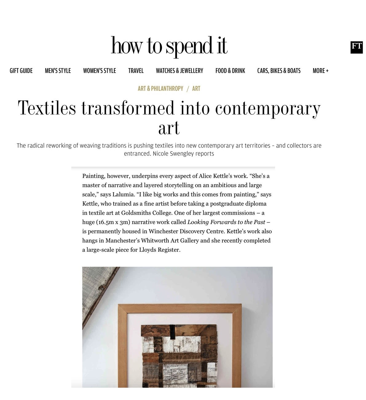 FT How to Spend It - Textiles transformed into contemporary art