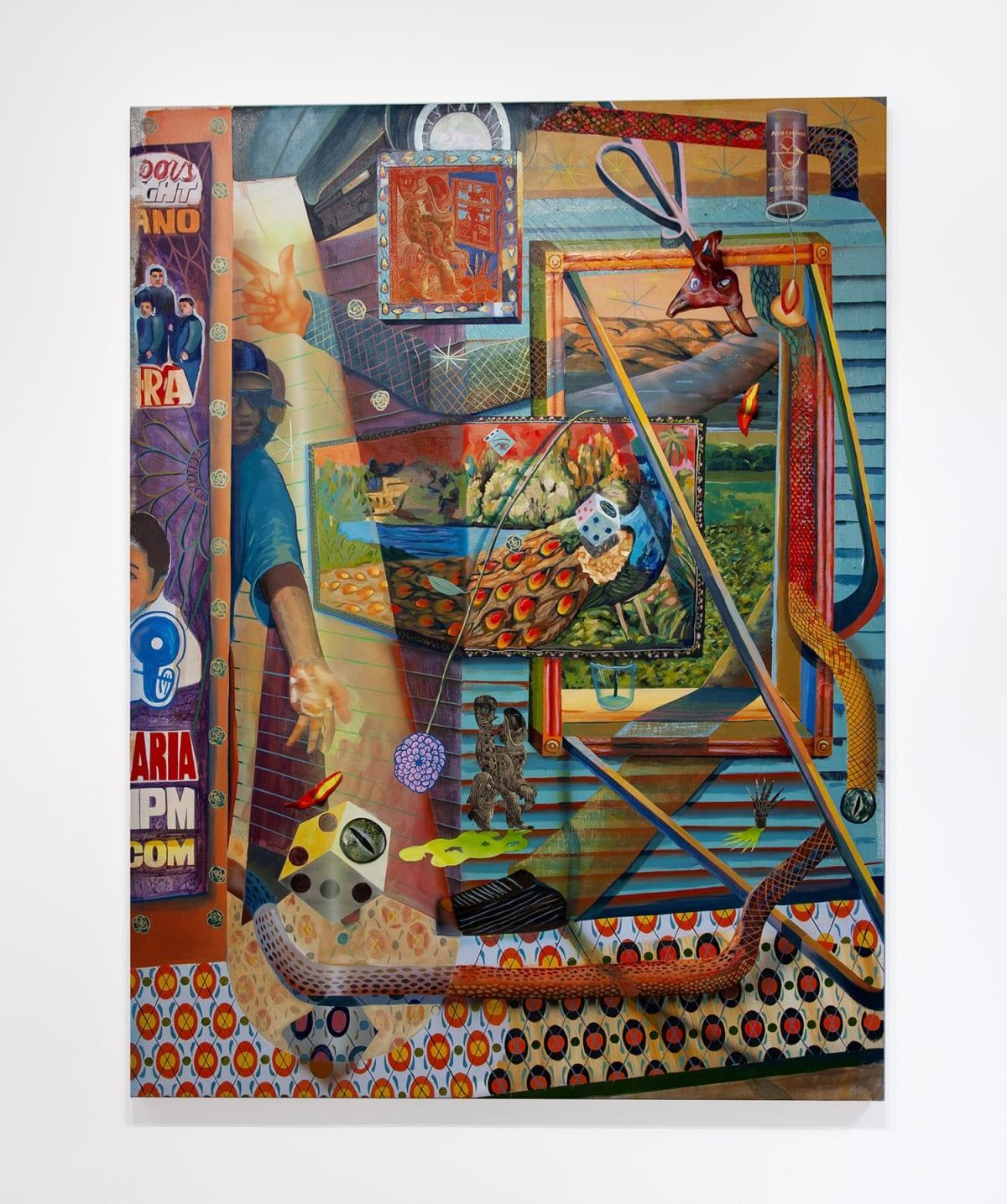 Jose de Jesus Rodriguez Satanas anda por todos lados, pues cuídate guey, 2018 Oil, acrylic, airbrush, relief print and epoxy on canvas 67 x 50 inches