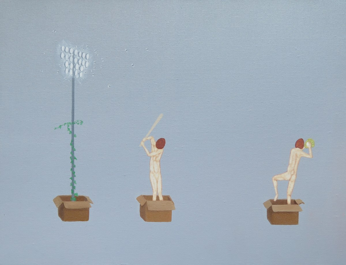 Akira Ikezoe Coconut Heads in the Boxes I, 2018 Oil on canvas 20 x 26 inches