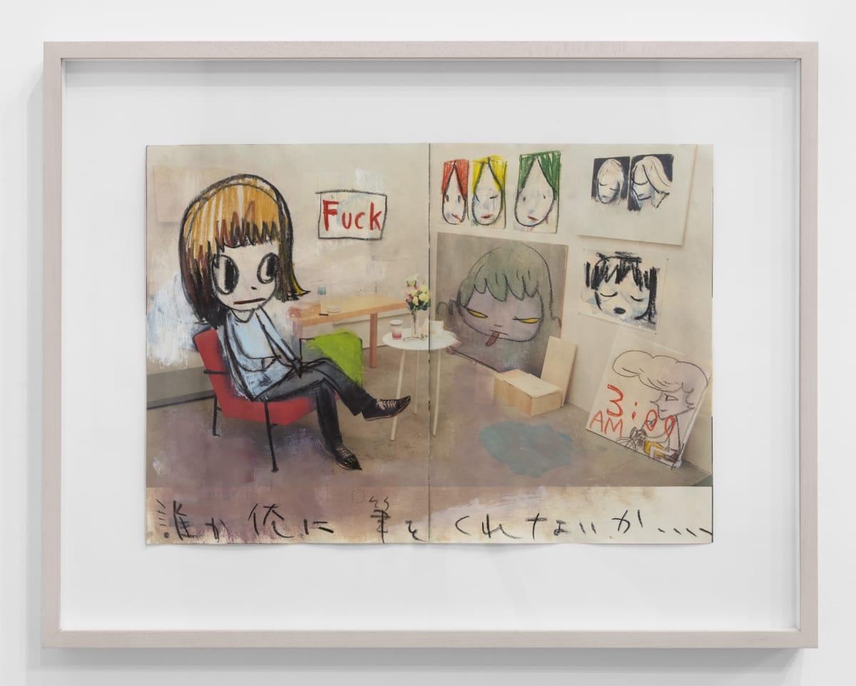Yoshitomo Nara Untitled, 2007 Color pencil on magazine paper 11 7/8 x 16 1/2 in (30.2 x 41.9 cm) © YOSHITOMO NARA