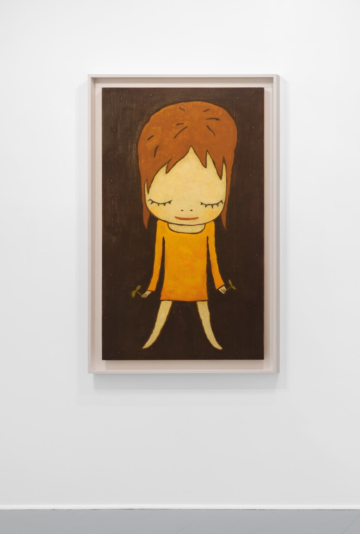 Yoshitomo Nara Sprout in Hands, 2011 Acrylic on Wood 53 3/8 x 32 1/4 in (135.6 x 81.9 cm) © YOSHITOMO NARA