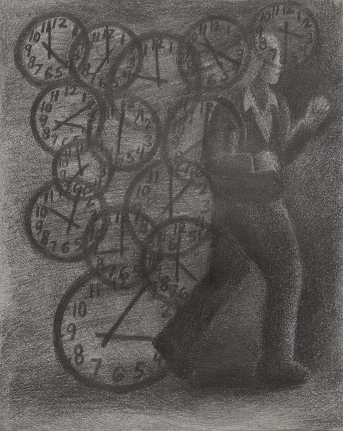 Vanessa Gully Santiago Against the Clock, 2018 Graphite on paper 10 x 8 inches