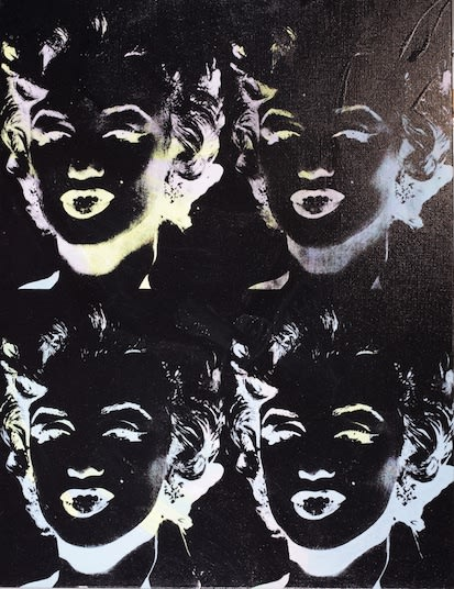 Four Marilyns (Reversal Series) 1979 - 86 by Andy Warhol, Acrylic and silkscreen on Canvas, signed and dated, at Coskun Fine Art