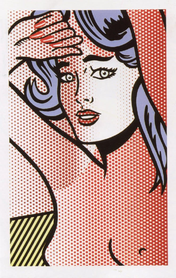 Nude with Blue Hair, 1994, by Roy Lichtenstein, Relief Print from an edition of 40, at Coskun Fine Art