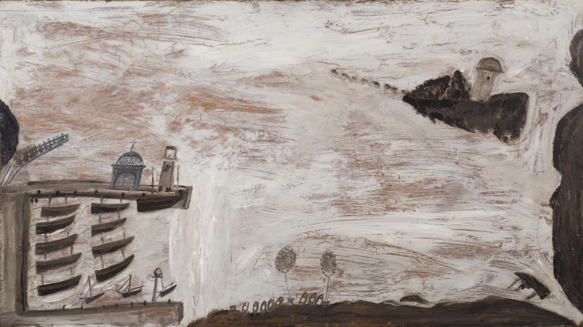 Alfred WALLIS (1855 – 1942) St Ives Harbour, c.1936 Oil on panel 19 x 34 inches / 48.3 x 86.3 cm