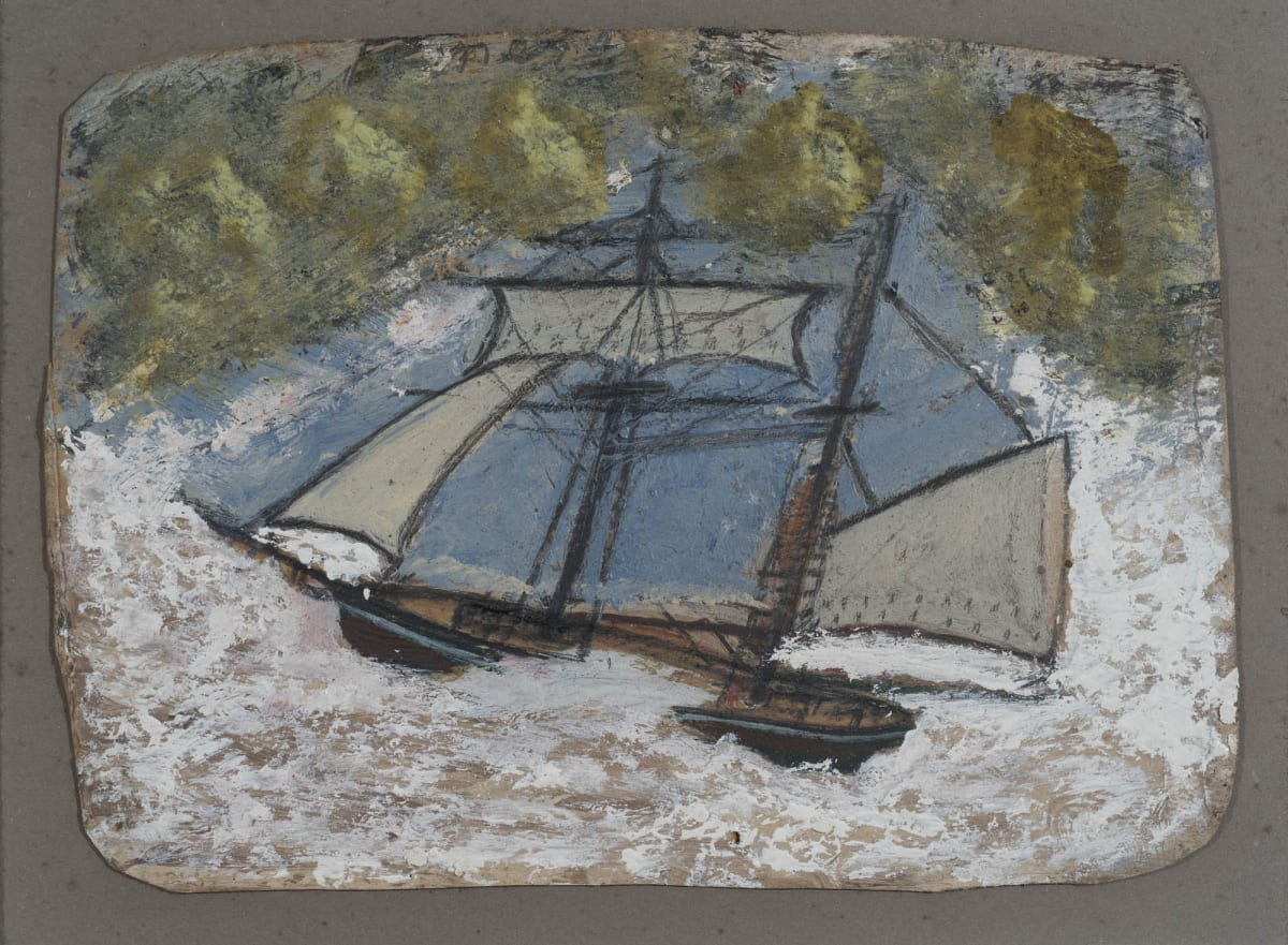 Alfred WALLIS (1855 – 1942) Two Masters in Stormy Sea, Oil and pencil on card 5 ¼ x 7 ¼ inches / 13.4 x 18.4 cm