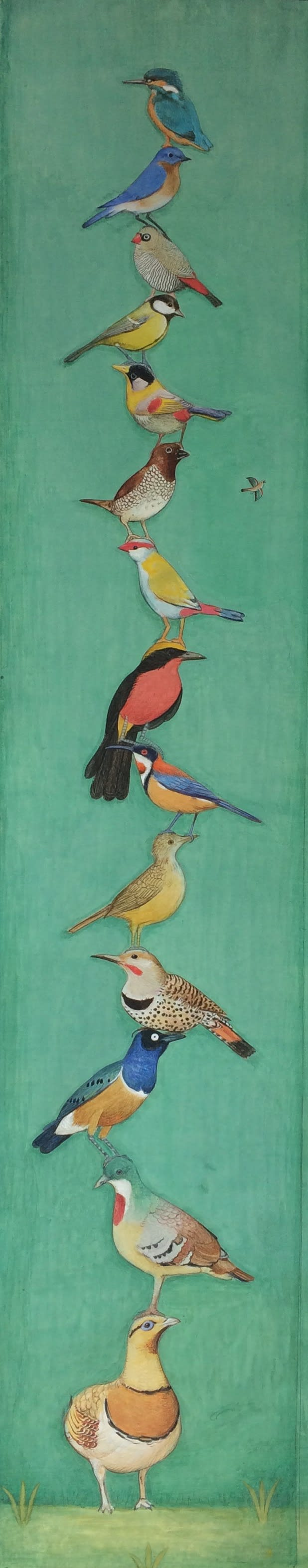Jethro BUCK (b.1986) A Tower of Birds, Upwards Rising, 2017 Natural pigments and Gouache on Sanganer paper 32 7/8 x 6 ½ inches / 83.5cm x 16.5cm