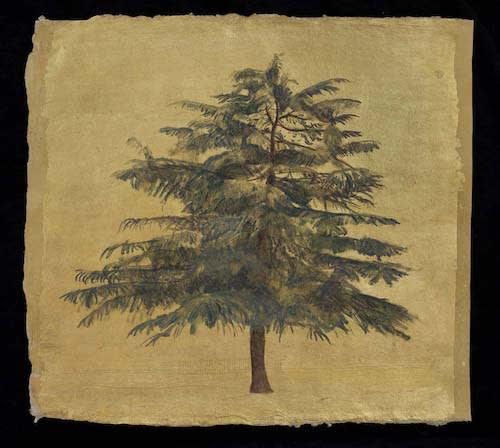 Jethro BUCK (b.1986) Cedar Tree, 2016 Oil on primed, gilded Sanganer paper 16 x 17 inches / 40.1 x 43.2 cm