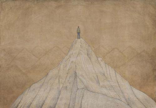 Jethro BUCK (b.1986) Man on a Mountain, 2016 Natural pigment and gum arabic on Sanganer paper 15 x 21 ½ inches / 38.1 x 54.6 cm