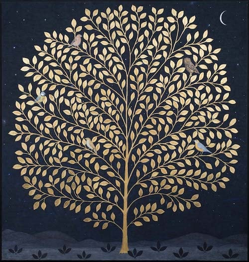 Jethro BUCK (b.1986) The Night Tree, 2016 Natural pigment and gum arabic and 22 ¾ ct gold leaf on indigo dyed linen 48 x 46 inches / 121.9 x 109.7 cm