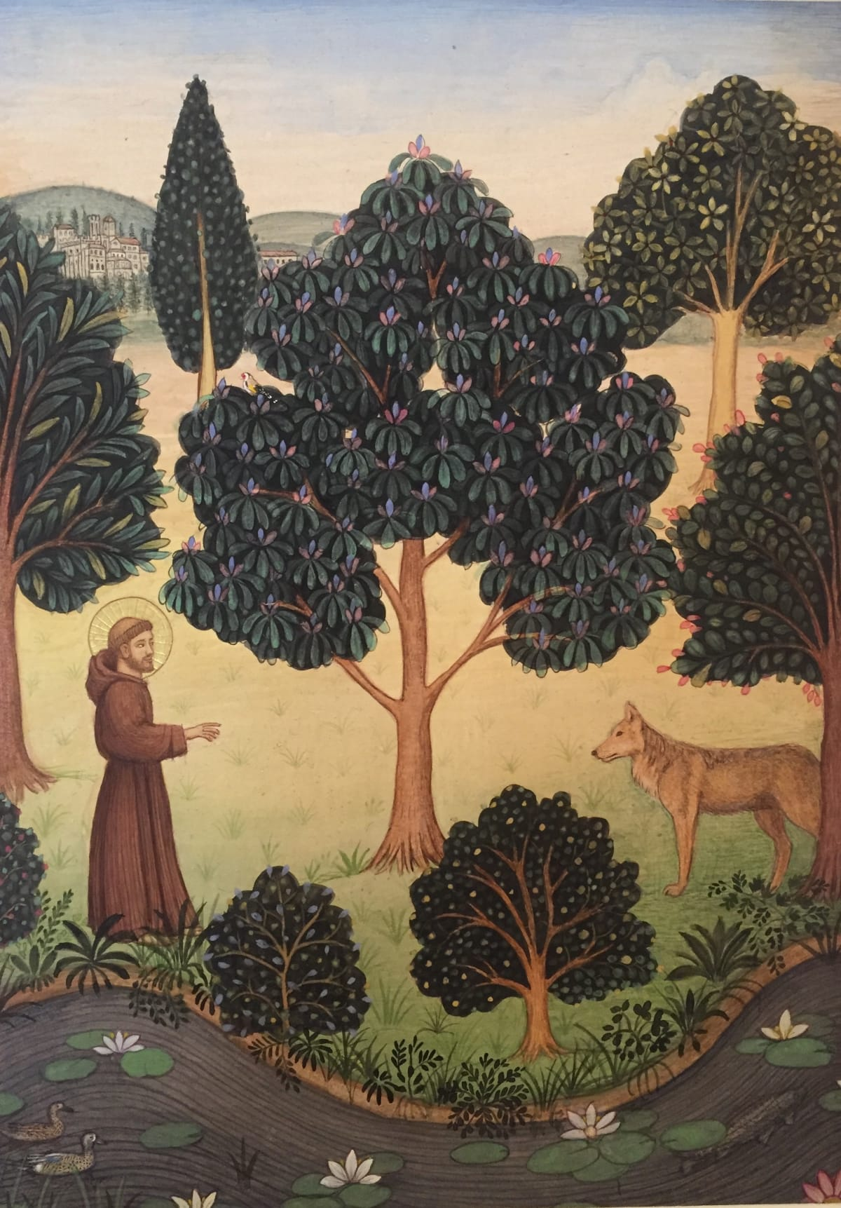 Jethro BUCK (b.1986) St Francis with Brother Wolf, 2017 Natural pigments on Sanganer paper 10 5/8 x 7 ½ inches / 27 x 19.2 cm