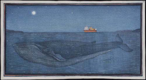 Jethro BUCK (b.1986) The Night the Whale came into Falmouth Bay, 2016 Natural pigment and gum Arabic on antique paper 6 ¼ x 12 inches / 15.9 x 30 cm