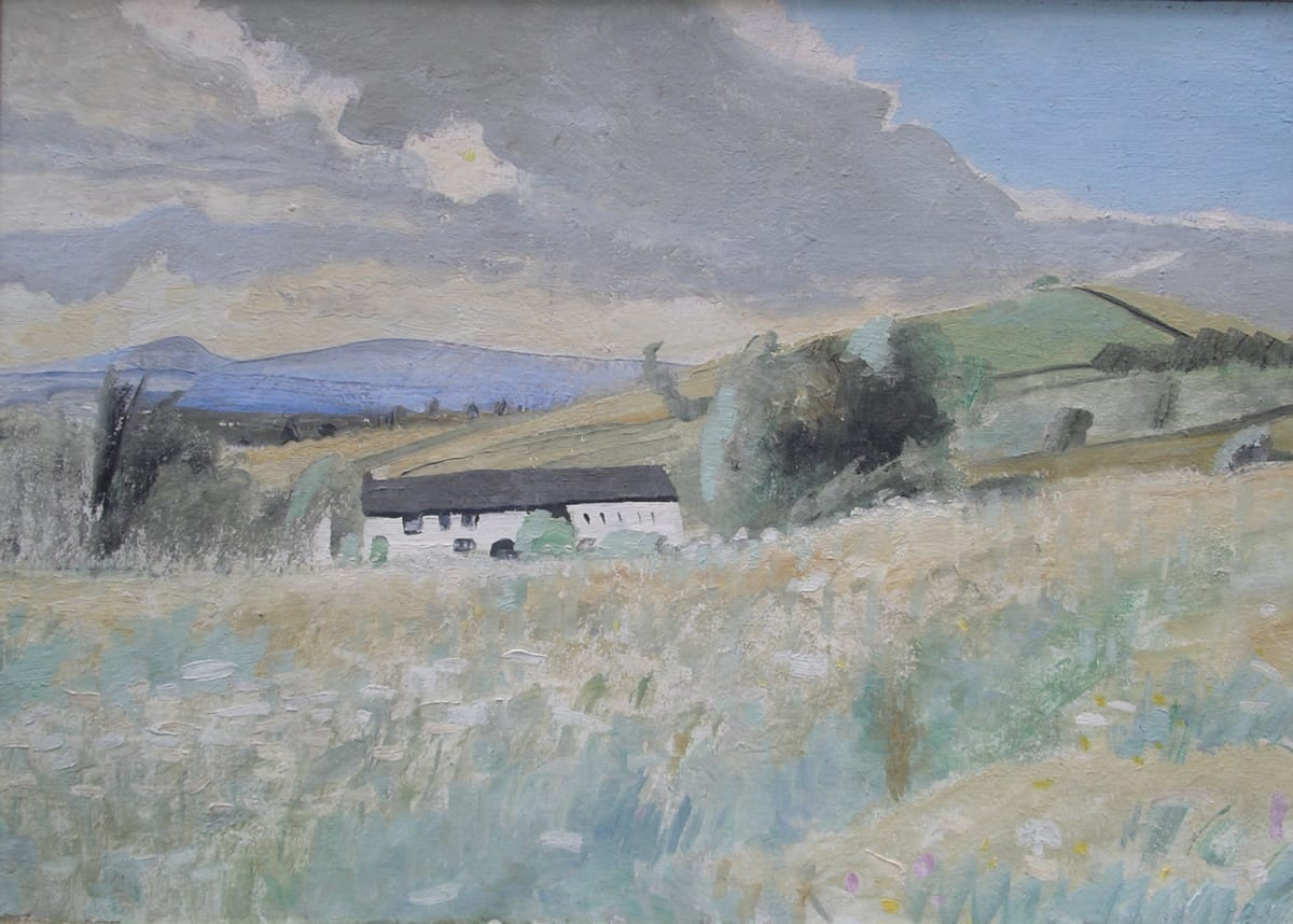 Winifred NICHOLSON (1893-1981) Calees: A white farmhouse near Bankshead, c. 1934 Oil on canvas 21 x 30 inches / 53.4 x 76.2 cm