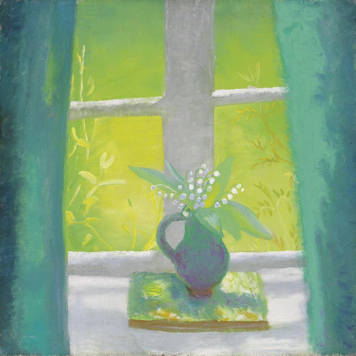 Winifred NICHOLSON (1893-1981) The South Parlour, c.1950 oil on panel 24 ½ x 24 ½ inches / 63 x 63 cm signed and inscribed 'South Parlour/Winifred Nicholson/Bankshead Brampton/Cumberland' (on a label attached to the reverse) There is a portrait thought to be of Ben Nicholson by the same hand, on the reverse.