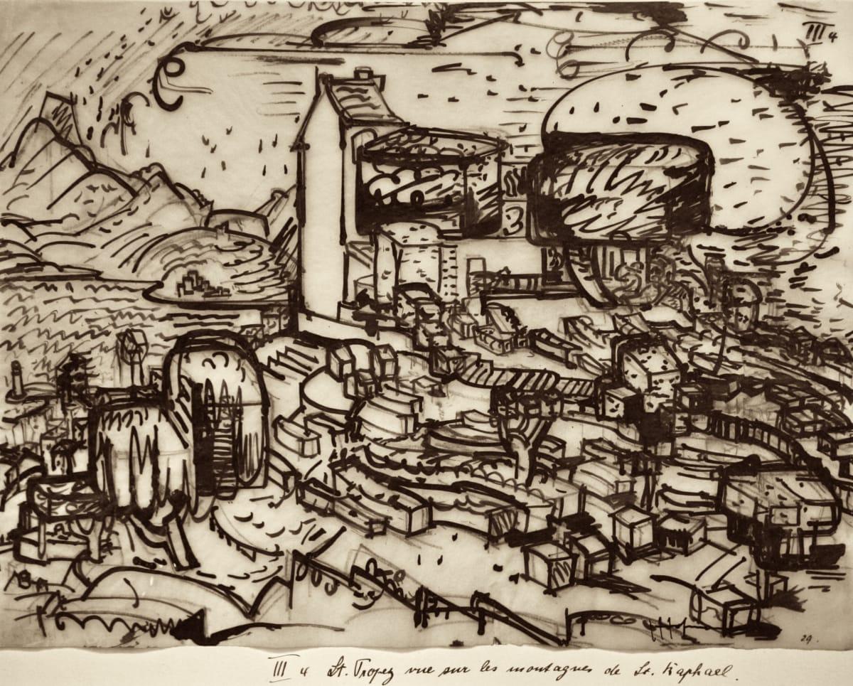 Hans HOFMANN (1880 – 1966) St Tropez vue sur la Montagnes de St. Raphael, 1928 Indian ink and graphite on paper 10 x 13 ½ inches / 25.4 x 34.3 cm Signed and dated lower right