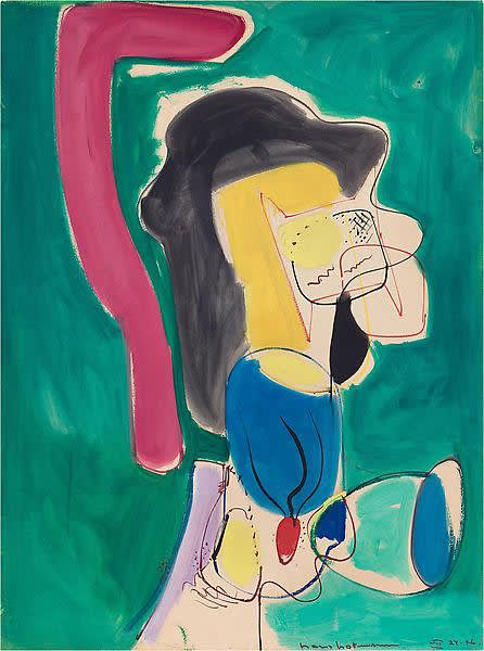 """Hans HOFMANN (1880-1966) The Mannequin, 1946 Oil on board 40 ¼ x 30 5/8 inches / 102.9 x 78.7 cm Lower right: """"hans hofmann VII 24.46"""" Verso obscured by backing HH Catalogue No. 502-1946"""