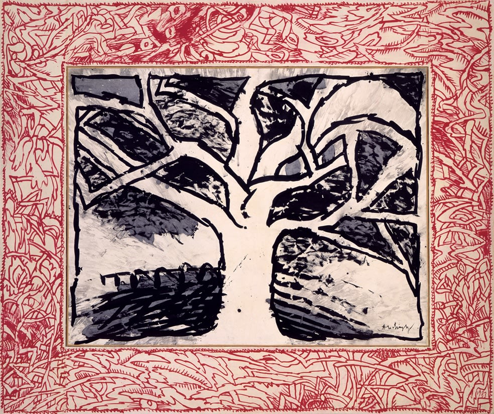 Pierre ALECHINSKY (b.1927) Jeu d'arbre, 1983-1984 India ink on paper laid on canvas, with acrylic border on paper mounted on wood 71 5⁄8 x 87 inches / 182 x 221 cm Signed lower right