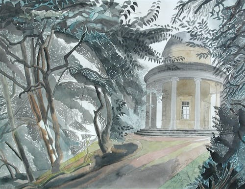 Edward BAWDEN, CBE, RA (1903 -1989) The Adam Temple, Audley End, Essex Watercolour on paper 19 ¼ x 25 ¼ inches / 49 x 64 cm Signed and dated lower right