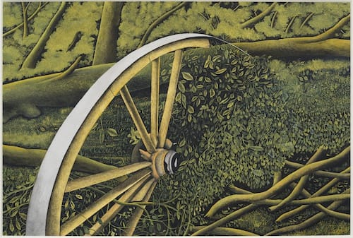 James LLOYD (1905 -1974) Fallen Trees and Broken Cart Wheel Gouache on paper 14 x 21 inches / 35.2 x 53.4 cm Signed lower right