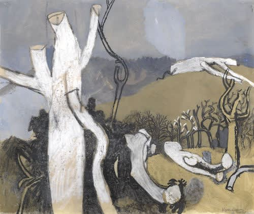 Keith VAUGHAN (1912-1977) Winter Landscape, c.1958 Gouache, wash, pen, ink, pastel and wax crayon 15 ½ x 13 inches / 39.4 x 33 cm Signed lower right