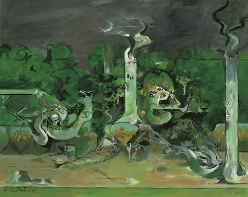 Graham SUTHERLAND (1903 – 1980) Forest and River, 1971 Oil on canvas 35 x 43 inches / 88.9 x 109.2 cm Signed and dated lower left and inscribed and dated verso