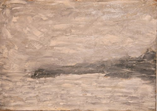 L.S. LOWRY (1887 – 1976) Untitled (Seascape with Black Coastline), 1965 Oil on board 10 x 14 inches / 25.4 x 30.5 cm Signed and dated Lowry 1965 lower right