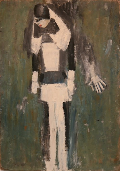 L.S. LOWRY (1887 – 1976) Untitled (Girl in Black and White), undated Oil on board 18 . x 13 1/8 inches / 47 x 33.2 cm