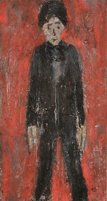 L.S. LOWRY (1887 – 1976) Untitled (Portrait of Boy), undated Oil on board 8 . x 4 . inches / 22.3 x 12.1 cm