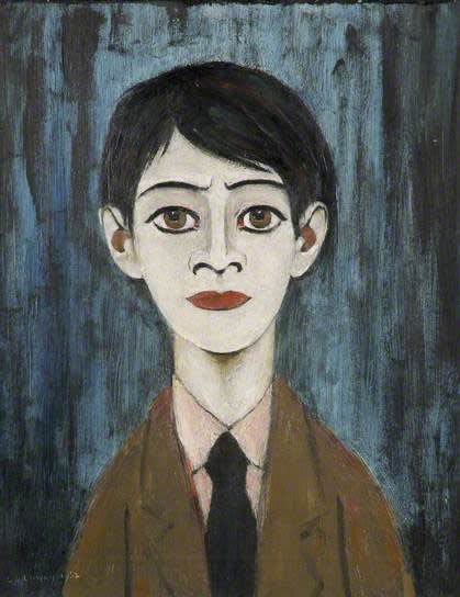 L.S. LOWRY (1887 – 1976) Head of a Boy, 1962 Oil on canvas 19 . x 15 . inches / 28.9 x 39.4 cm Signed and dated lower left
