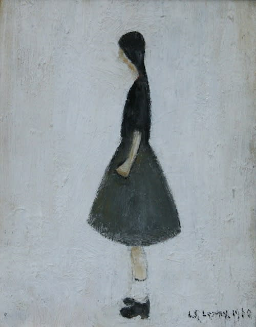 L.S. LOWRY (1887 – 1976) Portrait of a Girl with Short White Socks, 1960 Oil on board 8 . x 6 . inches / 21.5 x 15.9 cm Signed and dated lower right