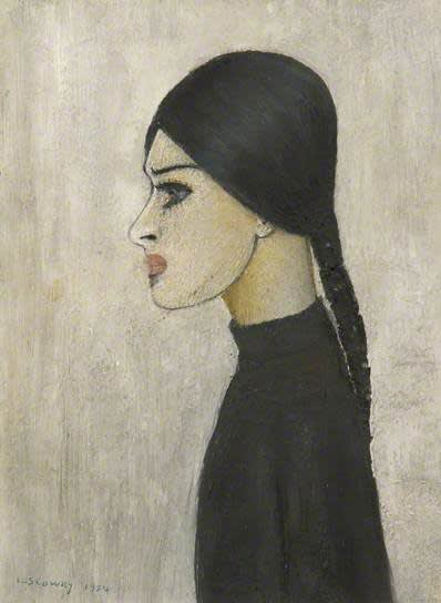 L.S. LOWRY (1887 – 1976) Portrait of Ann (with plait and black jumper), 1954 Oil on board 13 . x 10 inches / 35 x 25.4 cm Signed and dated lower left