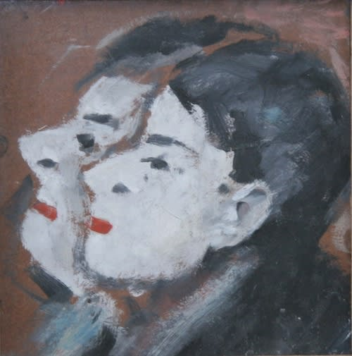 L.S. LOWRY (1887 – 1976) Two Heads, Undated Oil on board 8 x 7 . inches / 20.3 x 19.7 cm