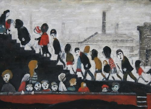 L.S. LOWRY (1887 – 1976) Untitled (Children walking up the stairs), undated Oil on board 10 x 14 inches / 25.4 x 35 cm