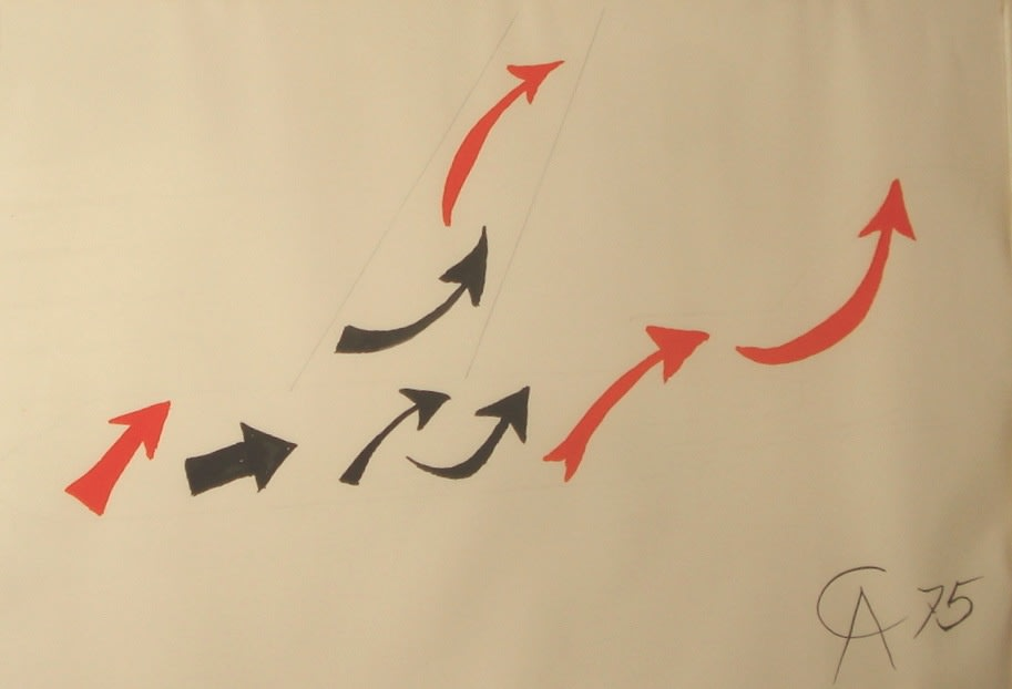 Alexander CALDER (1898 – 1976) Airplane – Arrows, 1975 Gouache on paper 41 ½ x 29 ½ inches / 102.9 x 74.9 cm Initialed and dated CA 75 lower right
