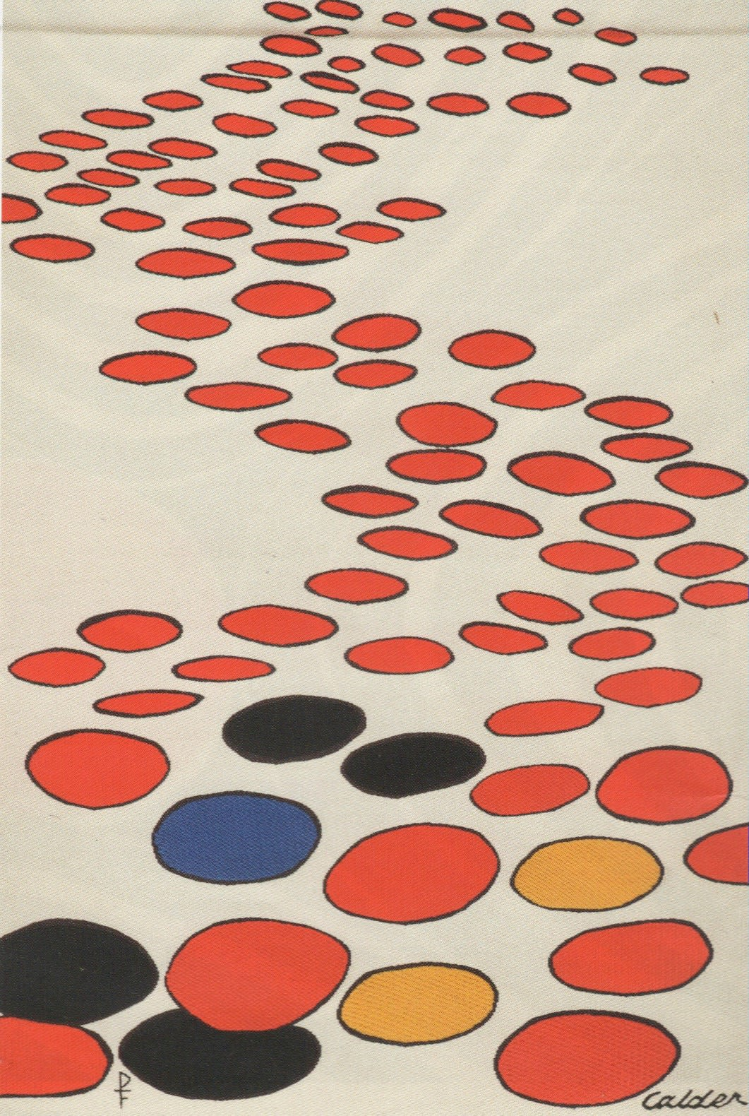 Alexander CALDER (1898 – 1976) Beaucoup de soucoupes volantes Tapestry made for the artist by Pinton Aubusson in an edition of 6 plus 2 artists proofs 64 ¼ x 43 7/8 inches / 163 x 111 cm Signed and stamped