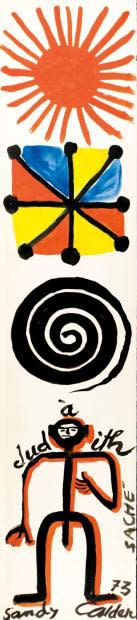 Alexander CALDER (1898 – 1976) Composition with figure, 1972 Gouache on paper 42 7/8 x 9 ½ inches / 109 x 24 cm Signed, dated and inscribed lower centre