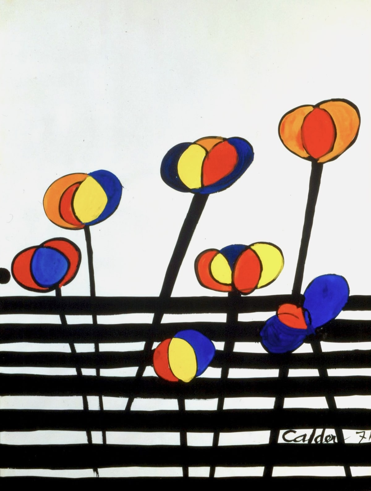 Alexander CALDER (1898 – 1976) La Barriere, 1971 Gouache on paper 30 ¼ x 22 ¼ inches / 76.8 x 56.5 cm Signed and dated Calder 71 lower right