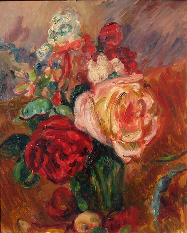 Mixed Flowers in a Green Vase, 1927 oil on canvas 18.25 x 15 inches (46 x 38 cm)