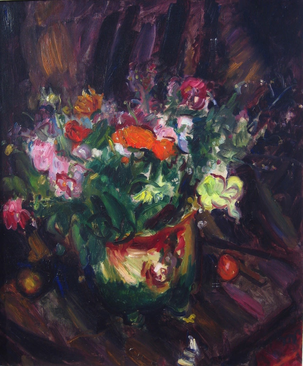 Mixed flowers with Purple Background, (c.1934) oil on canvas 39.5 x 24.5 inches (75 x 62.2cm) initialled lower right 'MS'