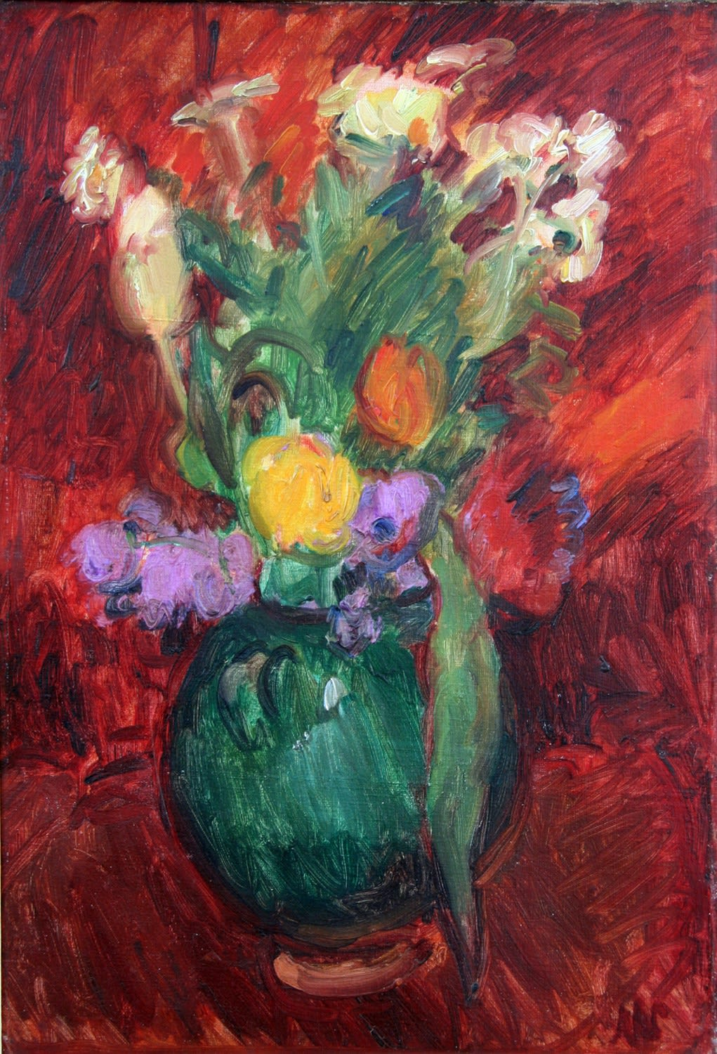 Tulips in a Green Jug, c.1927 oil on canvas 21.5 x 14.75 inches (54.5 x 37.5cm)